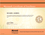 Microsoft certificate of excellence as a Microsoft Certified Professional